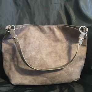 Old Navy Gray Suede Slouchy Tote